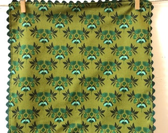 Rick Rack, Organic Cotton, Cloth Napkins, Gingko, greens