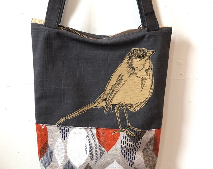 Featured listing image: Freehand Machine Stitched European Robin  Zipper top tote bag