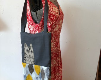 Freehand Machine Stitched Screech Owl tote bag
