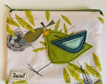 Birdy Felt Applique zipper pouch, organic cotton, lined, gift idea, Vireo, Charley Harper