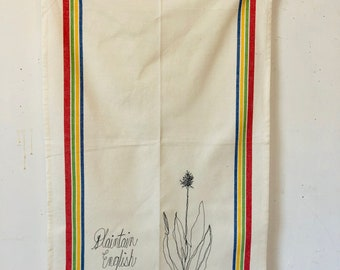 English Plantain  Freehand Machine Stitched Tea Towel