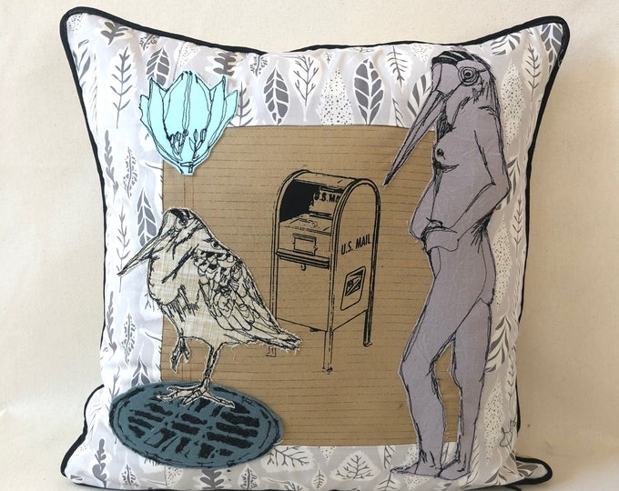 Featured listing image: If a Woodcock Could, a Woodcock Would 2, Postal Pillow