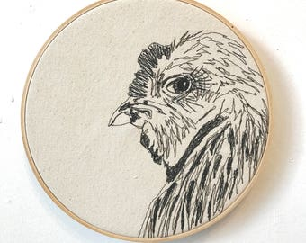 Silver Brahma Rooster Freehand Machine Embroidered Portrait