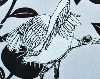 Wood Stork Freehand Machine Stitched Framed Art