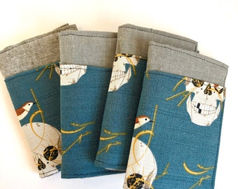 Organic Cotton Charley Harper Wrented Barkcloth Pocket Wallet