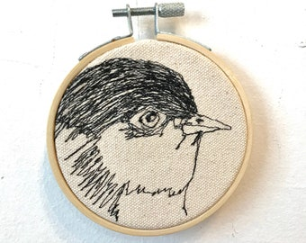 California Gnatcatcher Freehand Machine Stitched Portrait