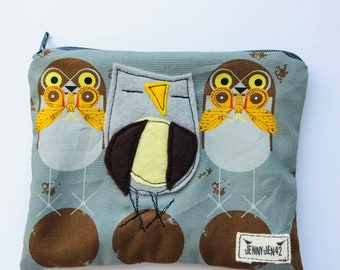 Birdy Felt Applique zipper pouch, organic cotton, lined, gift idea, owls, Charley Harper