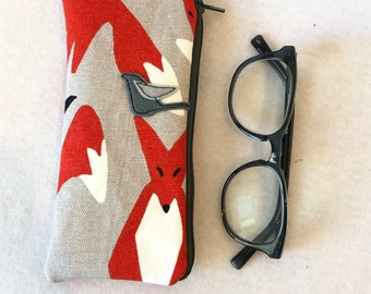 Organic Cotton canvas Padded Zipper Fabric Eyeglass Case, flannel lined eyeglass case, fox and crow