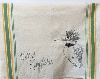 Belted Kingfisher Freehand Machine Stitched Tea Towel