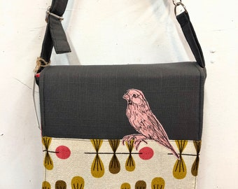House Finch, freehand machine stitched drawn small messenger bag, adjustable strap, freehand machine stitched bird, with free accessory