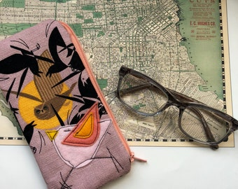 Organic Cotton Padded Zipper Fabric Eyeglass Case, Charley Harper Barkcloth, flannel lined eyeglass case