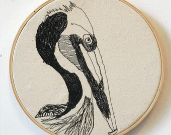 Brown Pelican Freehand Machine Embroidered Portrait