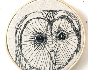 Snow Owl Freehand Machine Embroidered portrait, 6 inch hoop art