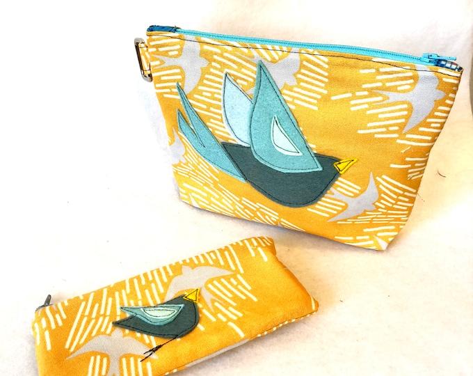 Featured listing image: Organic Cotton Birdy Bird l Felt Appliqué large zipper pouch