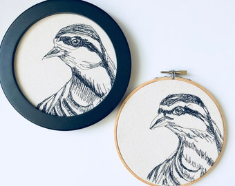Chukar Freehand Machine Embroidered portrait