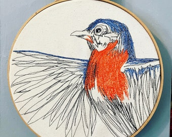 Eastern Bluebird Freehand Machine Embroidered Portrait