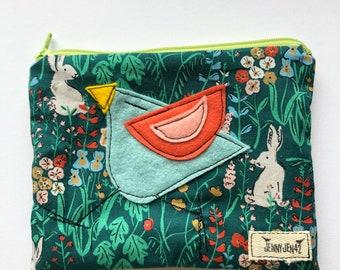 Organic Cotton Birdy Felt Applique zipper pouch