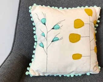 Abstract Plant  Pillow, Mid-Century Modern, Home Decor, Canvas Pillow Cover