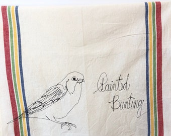Cerulean Warbler Freehand Machine Stitched Tea Towel