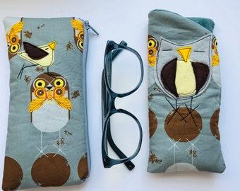 Cotton Padded Fabric Eyeglass Case, felt appliqué, zipper, felt lined, eyeglass case, Charley Harper