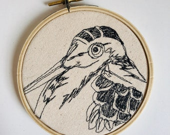 American Woodcock Freehand Machine Stitched Portrait