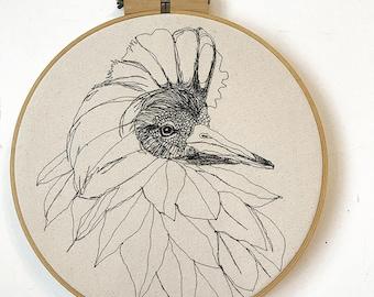 Ruff Freehand Machine Embroidered Portrait, 14 inch