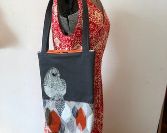 Freehand Machine Stitched Dark Eyed Junco tote bag