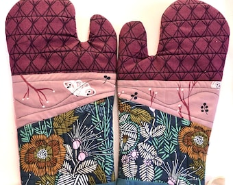 Organic Cotton Patchwork Quilted Oven Mitts