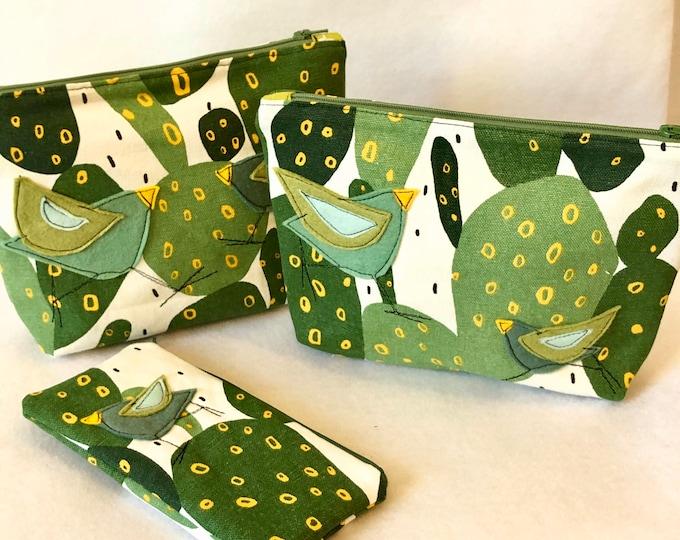 Featured listing image: Organic Cotton Canvas Felt Appliqué large zipper pouch, bird, cactus, green