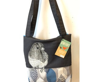 Freehand Machine Stitched Dark Eyed Junco Zipper top tote bag
