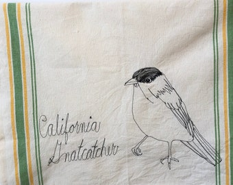 California Gnatcatcher Freehand Machine Stitched Tea Towel