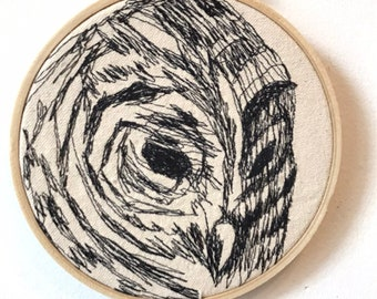 Barred Owl Freehand Machine Embroidered Portrait, 5 inch
