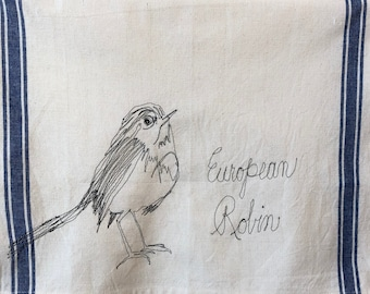 European robinr Freehand Machine Stitched Tea Towel