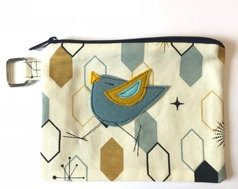 Organic Cotton Birdy Bird l Felt Appliqué large zipper pouch