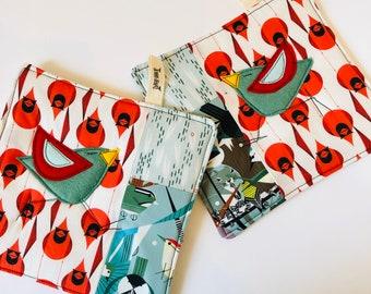 Organic Cotton Patchwork Pot Holder, felt appliqué , Charley Harper, cardinals