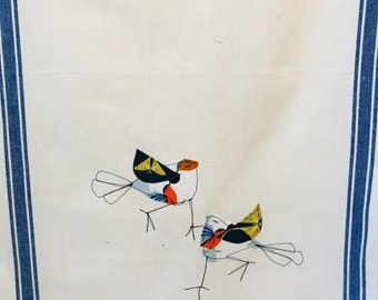Fabric Applique Birdy Bird Vintage inspired Tea Towel