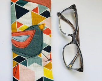 Cotton Padded Fabric Eyeglass Case, felt appliqué, zipper, felt lined, eyeglass case