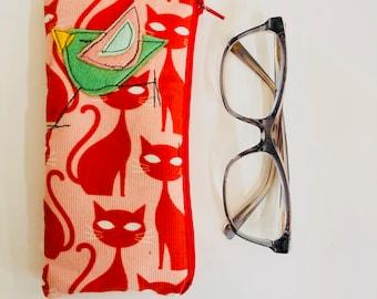 Organic Baby Wale Corduroy Padded Zipper Fabric Eyeglass Case, flannel lined eyeglass case, in Tabby Cat