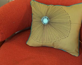 Starburst Pillow, Mid-Century Modern, Thread Drawing, Felt Appliqué, Custom, Pillow Cover