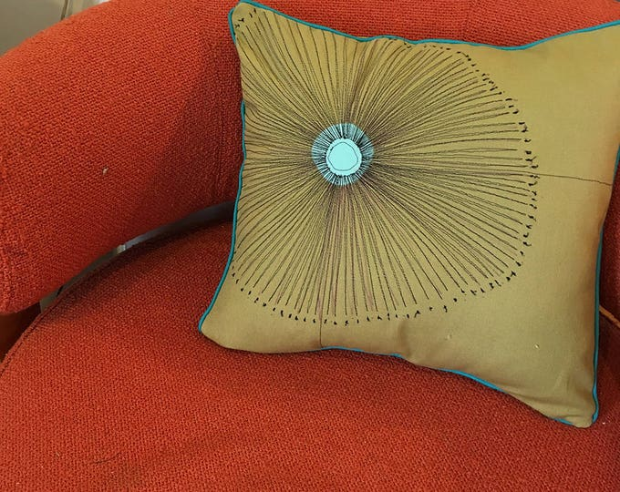 Featured listing image: Starburst Pillow, Mid-Century Modern, Thread Drawing, Felt Appliqué, Custom, Pillow Cover