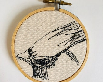Cedar waxwing  Freehand Machine Stitched Portrait