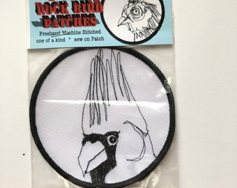 Punk Rock Bird Patch, Northern Cardinal , Freehand Machine Stitched , sew on Patch