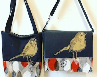 European Robin freehand machine stitched drawn,messenger bag, adjustable strap, freehand machine stitched bird, Barkcloth