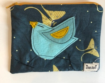 Birdy Felt Applique zipper pouch, organic cotton, lined, gift idea