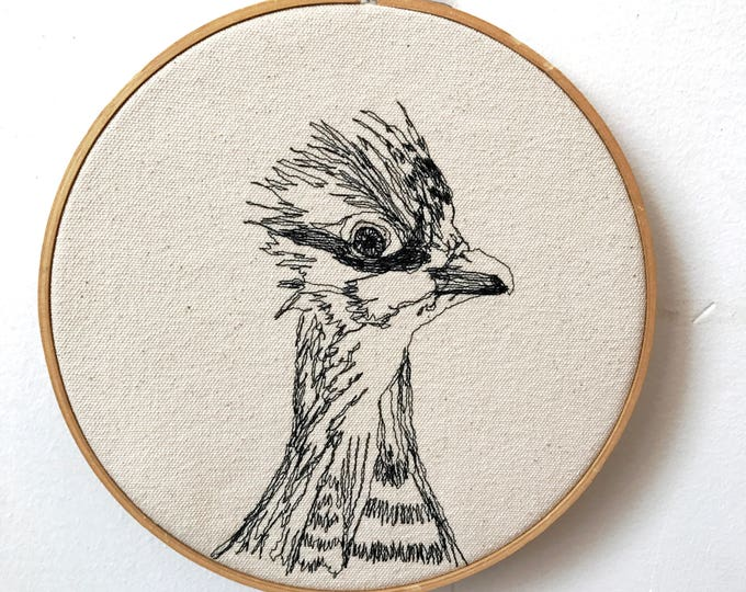 Featured listing image: Greater Prairie Chicken Freehand Machine Embroidered Portrait