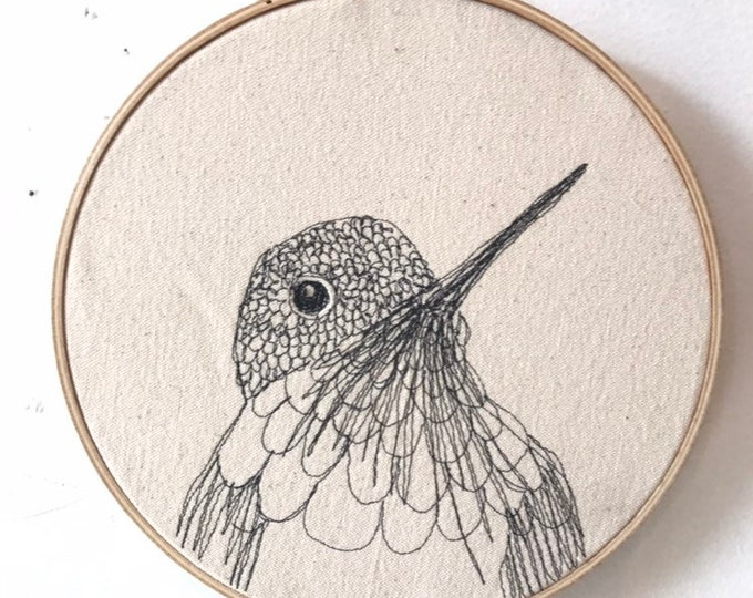 Featured listing image: Bumblebee Hummingbird  Freehand Machine Embroidered portrait