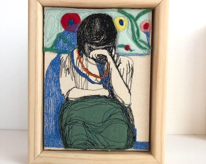 """Featured listing image: After Deibenkorn """"Girl with Pattern Background"""" felt and freehand machine stitched"""