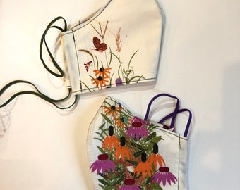 Two layer Organic cotton Face Masks in Charley Harper Wildflowers with filter pocket and wire insert