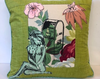 Ms. Song Sparrow pouts over no Mail  Postal Pillow