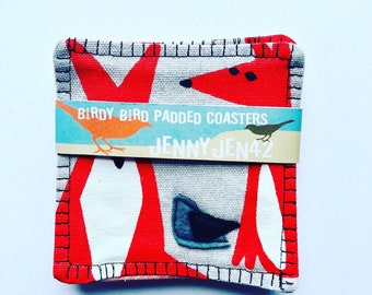Organic Cotton Canvas Coasters, double Sided, Felt Appliqué Bird, set of four,fox and crow , Wildlife, Cloud 9 Fabrics